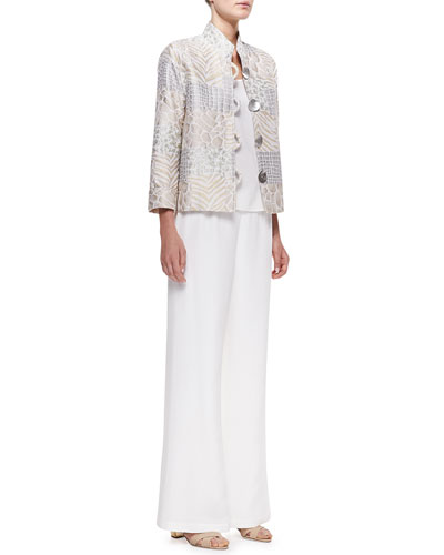 Caroline Rose Soft Focus Jacquard Jacket, Silk Crepe Tank & Wide-Leg Pants