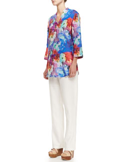 Caroline Rose Floral Watercolor Tunic & Linen Straight-Leg Pants