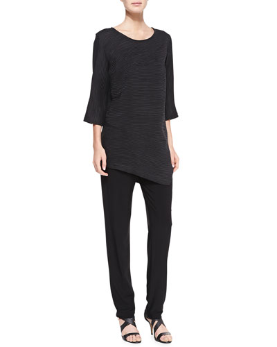 Caroline Rose Rib-Wave 3/4-Sleeve Tunic & Stretch-Knit Slim Pants