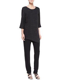 Caroline Rose Rib-Wave 3/4-Sleeve Tunic & Stretch-Knit Slim Pants, Women's