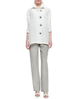 Caroline Rose Rib-Wave Easy Shirt & Tumbled Straight-Leg Pants