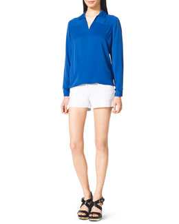 MICHAEL Michael Kors  Drape-Front Blouse & Stretch Clean Mini Shorts