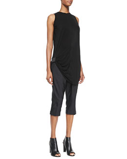 Rick Owens Sleeveless Ribbon Rick's T-Shirt and Easy Astaire Wide Cropped Pants