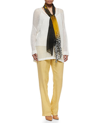 Marina Rinaldi Multi-Print Sound Scarf & Udito Sheer-Hemp V-Neck Blouse & Rigore Linen Pants, Women's