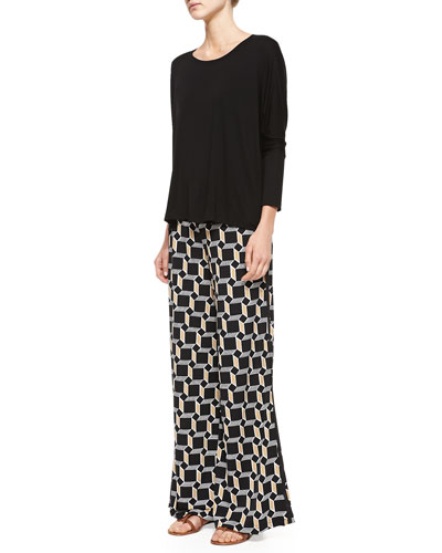 Melissa Masse Jersey Dolman-Sleeve Top & Cube-Print Easy Pants, Women's