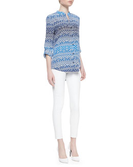 Diane von Furstenberg Gilmore Printed Long Sleeve Blouse & Kristen Skinny Cropped Leather Pants