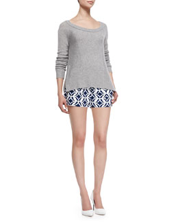 Diane von Furstenberg Long-Sleeve Cashmere Sweater & Naples Printed Shorts