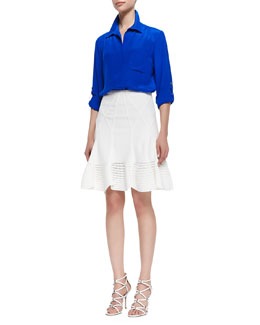 Diane von Furstenberg Lorelei Two Button-Down Blouse & Samara Flared Crochet-Hem Skirt