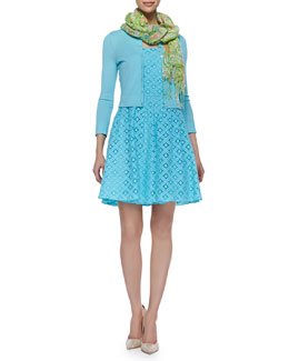 Lilly Pulitzer Charlotte Three-Quarter-Sleeve Cropped Cardigan, Caitlin Strapless XOXO Lace Dress & Murfee Silk-Cashmere Scarf