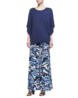 Rachel Pally Ribbed Jersey Poncho & Printed Wide-Leg Pants