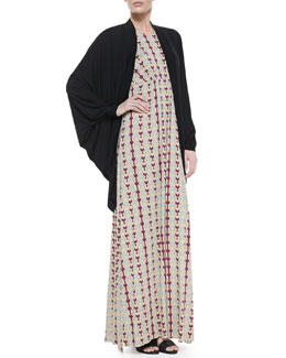 Rachel Pally Siri Draped Batwing-Sleeve Cardigan & Phillipa Dart-Print Maxi Dress