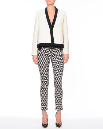 Plisse Pleated Short Jacket & Printed Denim/Leather Pants
