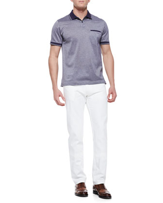 Pique Polo Shirt with Contrast Taping & Scanno