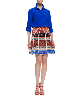 Diane von Furstenberg Lorelei Two Button-Down Blouse & Samara Desert Bands Print Fit-and-Flare Skirt