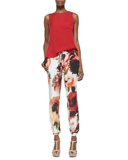 Haute Hippie Flyaway-Back Pocket Top and Floral-Print Drawstring Pants