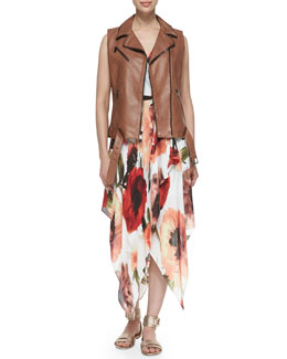 Haute Hippie Belted-Hem Leather Zip Vest & Rose-Print Asymmetric Wrap Dress