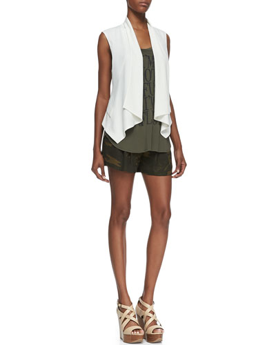 Haute Hippie Drapey Crepe Vest, I'm Not Confused Tank & Abstract Camo Summer Shorts