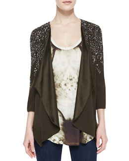 Gryphon New York Flame Embellished Drape Jacket and X-Ray Printed Boyfriend Tank