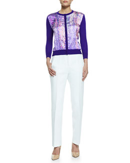 L'Wren Scott Printed Satin-Front Cardigan and Textured High-Waist Slim-Leg Trousers