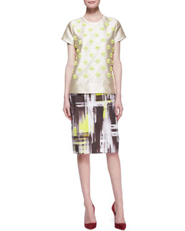kate spade new york short-sleeve beaded front blouse & modern-print pencil skirt