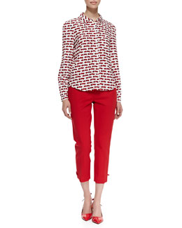 kate spade new york lorelle long sleeve autobahn print shirt & jackie capri pants