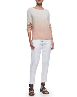 Vince Ombre Long-Sleeve Knit Sweater & Fold-Over-Waist Ankle Trousers