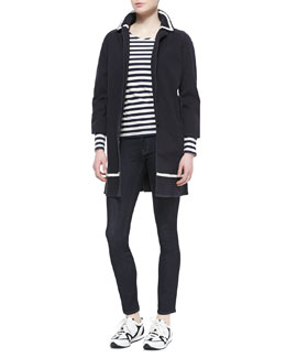 MARC by Marc Jacobs Zeta Twill 3/4-Sleeve Coat & Pam Stripe-Jersey Long-Sleeve Tee & Stick Denim Skinny Jeans, Rinse