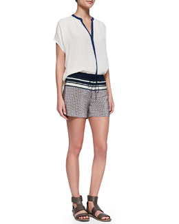 Vince Contrast-Placket Silk Blouse & Striped Printed Silk Drawstring Shorts