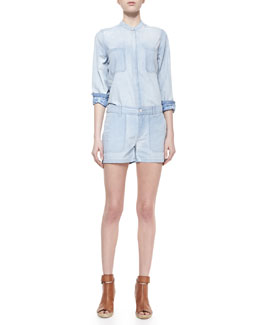 Vince Placket-Front Chambray Shirt & Chambray Pocket Shorts