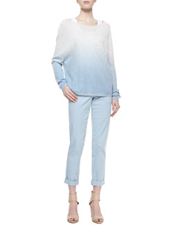 Vince Ombre Long-Sleeve Knit Sweater & Cuffed Twill Boyfriend Trousers
