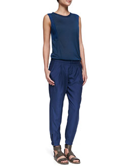 Vince Mixed-Fabric Silk Muscle Tee & Pleated Zipper-Cuff Harem Pants
