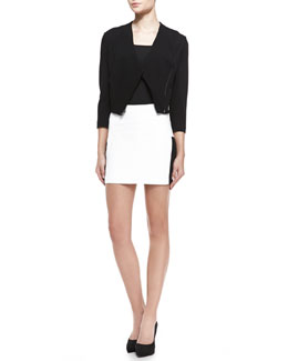 LaPina by David Helwani Monica Stretch Knit/Leather Jacket & Juliette Leather Panel Miniskirt