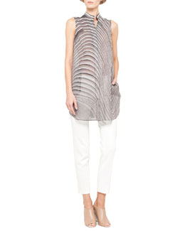 Akris Curves Sleeveless Snap Tunic and Slim Denim Ankle Pants