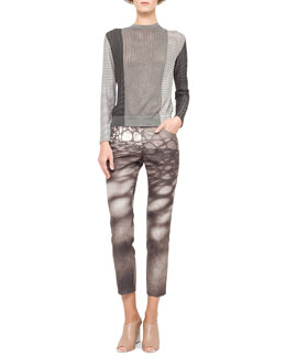 Akris Mixed Jacquard Knit Top and Honeycomb Slim Stretch Ankle Pants