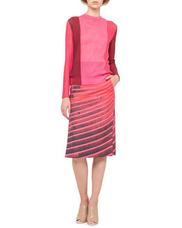 Akris Mixed Jacquard Knit Top and Lines Side-Slit Pencil Skirt
