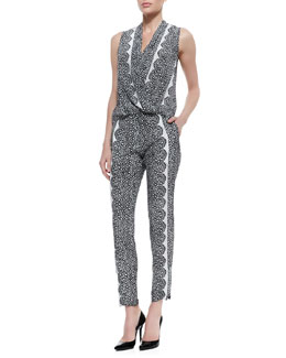 Yoana Baraschi Sleeveless Aloe Print & Lace Faux-Wrap Top & Cropped Aloe Lace Pants