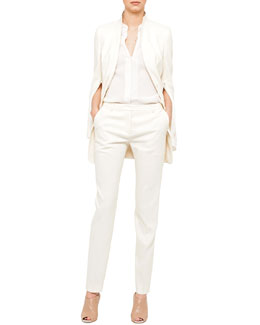 Akris Double-Faced Dress Jacket, Silk Crepe Blouse & Melvin Slim-Leg Pants