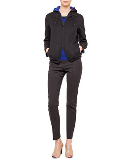 Akris Double-Faced Wool Reversible Jacket with Hood, Cashmere-Silk Knit Pullover & Melissa Techno Cotton Pants