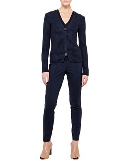 Akris Wool-Cotton Knit Cardigan with Zip, Merino Wool Knit Top & Melissa Cotton Techno Pants