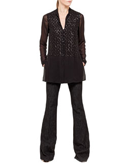 Akris Beaded Silk Georgette Tunic & Farrah Cotton Denim Boot-Cut Jeans