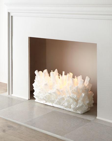 "Selenite Fireplace Sculpture, 24""W"