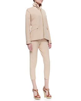 Minnie Rose Stand-Collar Piped Jacket & Piped Cropped Twill Trousers