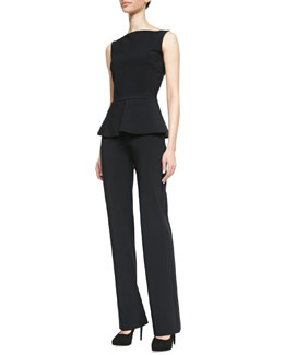 La Petite Robe by Chiara Boni Sleeveless Jersey Peplum Top & Bonded Wide-Leg Pants