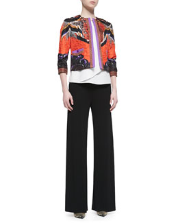 Etro Cropped Printed Cloque Jacket, Colorblock-Shoulder Silk Shirt & Jersey Crepe Side Zip Wide Leg Pants