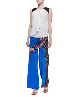 Etro Colorblock Shoulder Silk Shirt with Drape & Silk Largo Printed Wide-Leg Pants