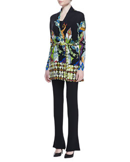 Etro Long Geometric Stretch-Silk Tie-Belted Cardigan & Cady Flare-Leg Pants