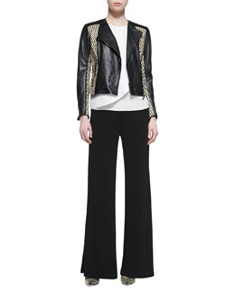 Etro Basketweave Leather Moto Jacket, Silk Colorblock-Shoulder Shirt & Jersey Crepe Side Zip Wide Leg Pants