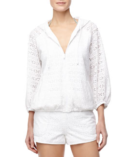 Tory Burch Encintas Hooded Eyelet Zip Jacket & Encintas Pull-On Eyelet Shorts