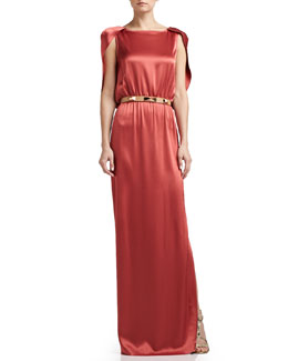 St. John Collection Liquid Satin Evening Gown & Narrow Leather Waist Belt