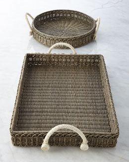 Juliska Waveney Wicker Serving Trays